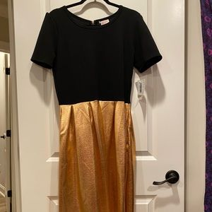 Black and gold/copper fit & flare dress